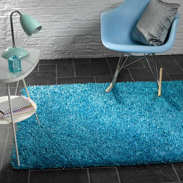 Spider Shaggy Rugs in Electric Blue