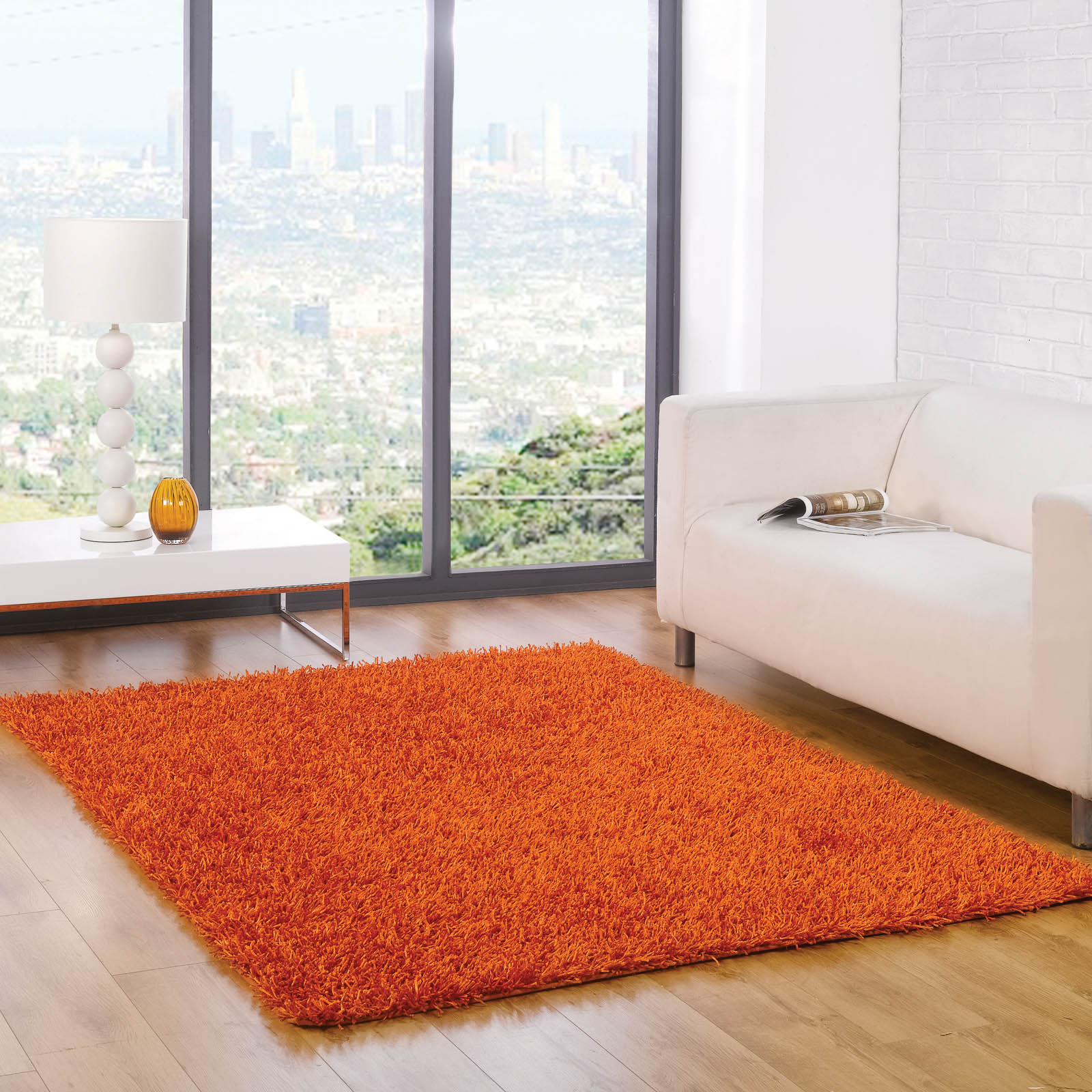 Spider Shaggy Rugs in Orange