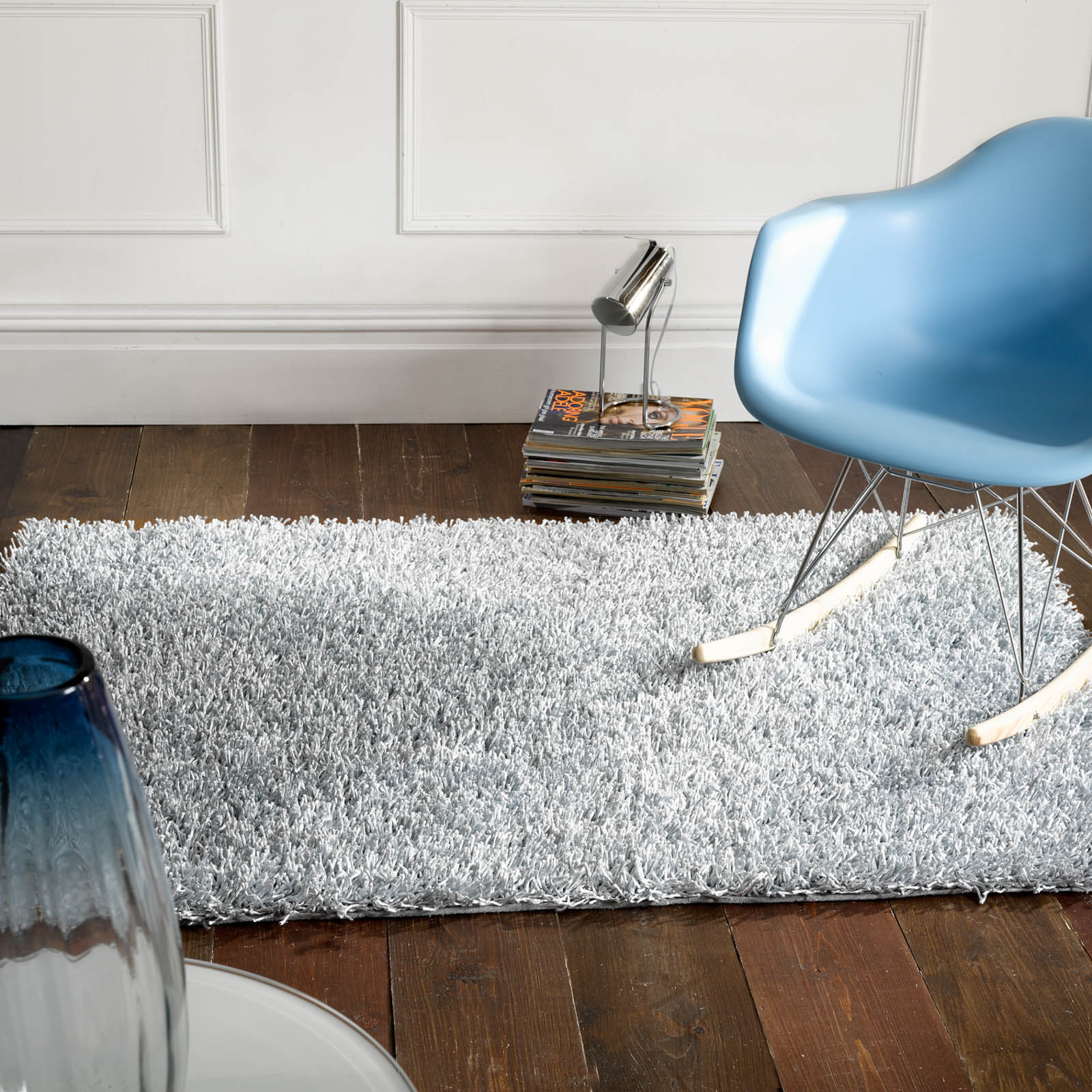 Spider Shaggy Rugs in Silver