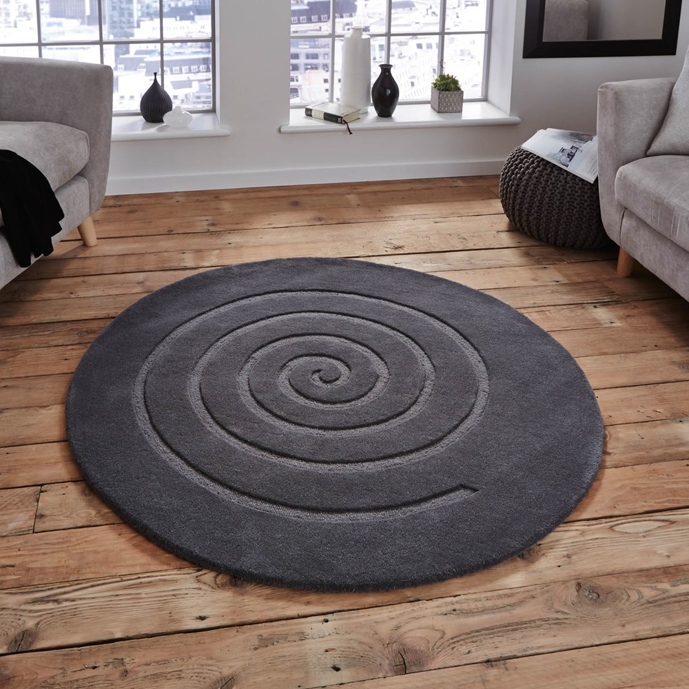 Spiral Circular Wool Rugs In Grey Buy Online From The Rug