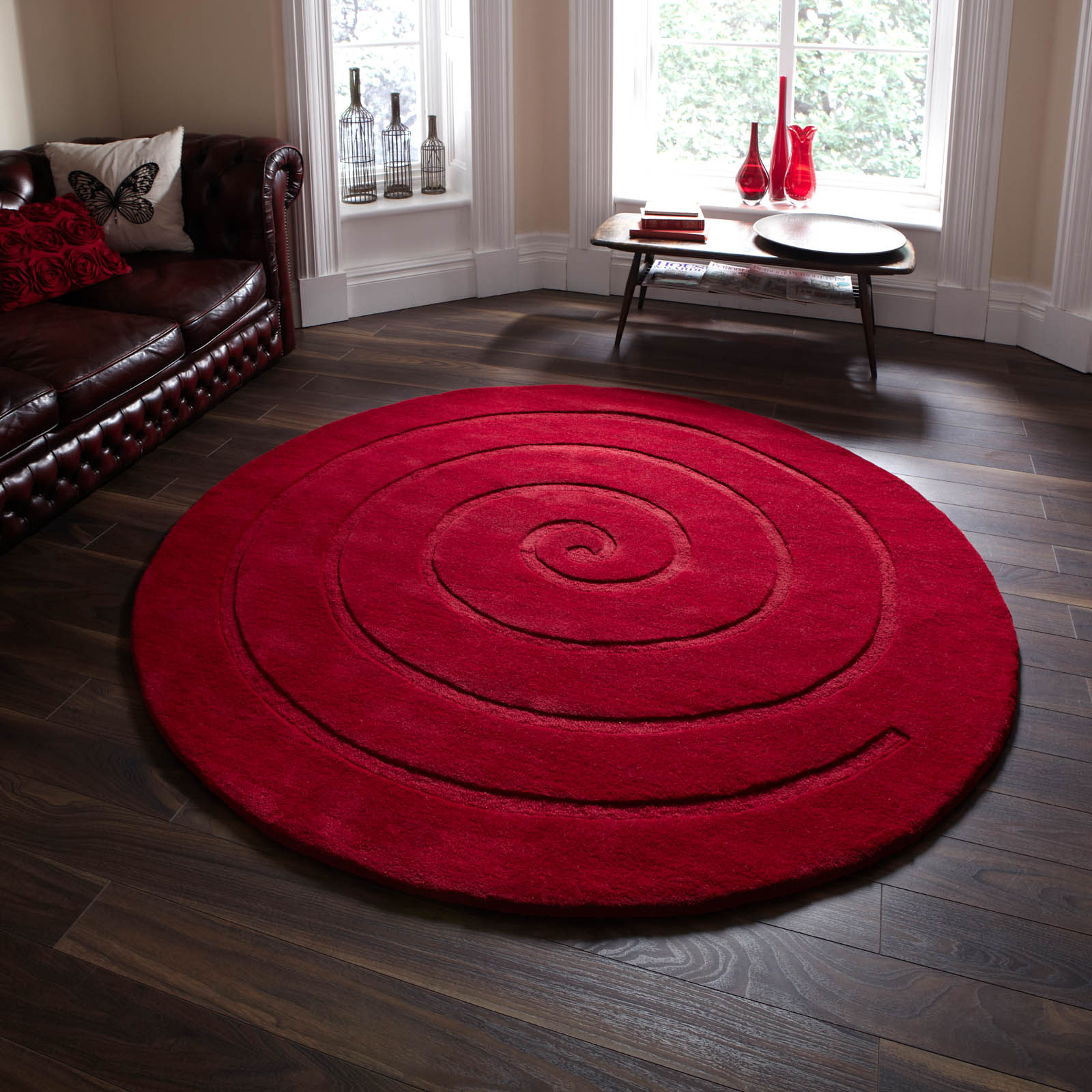 Spiral Circular Wool Rugs In Ivory Buy Online From The Rug