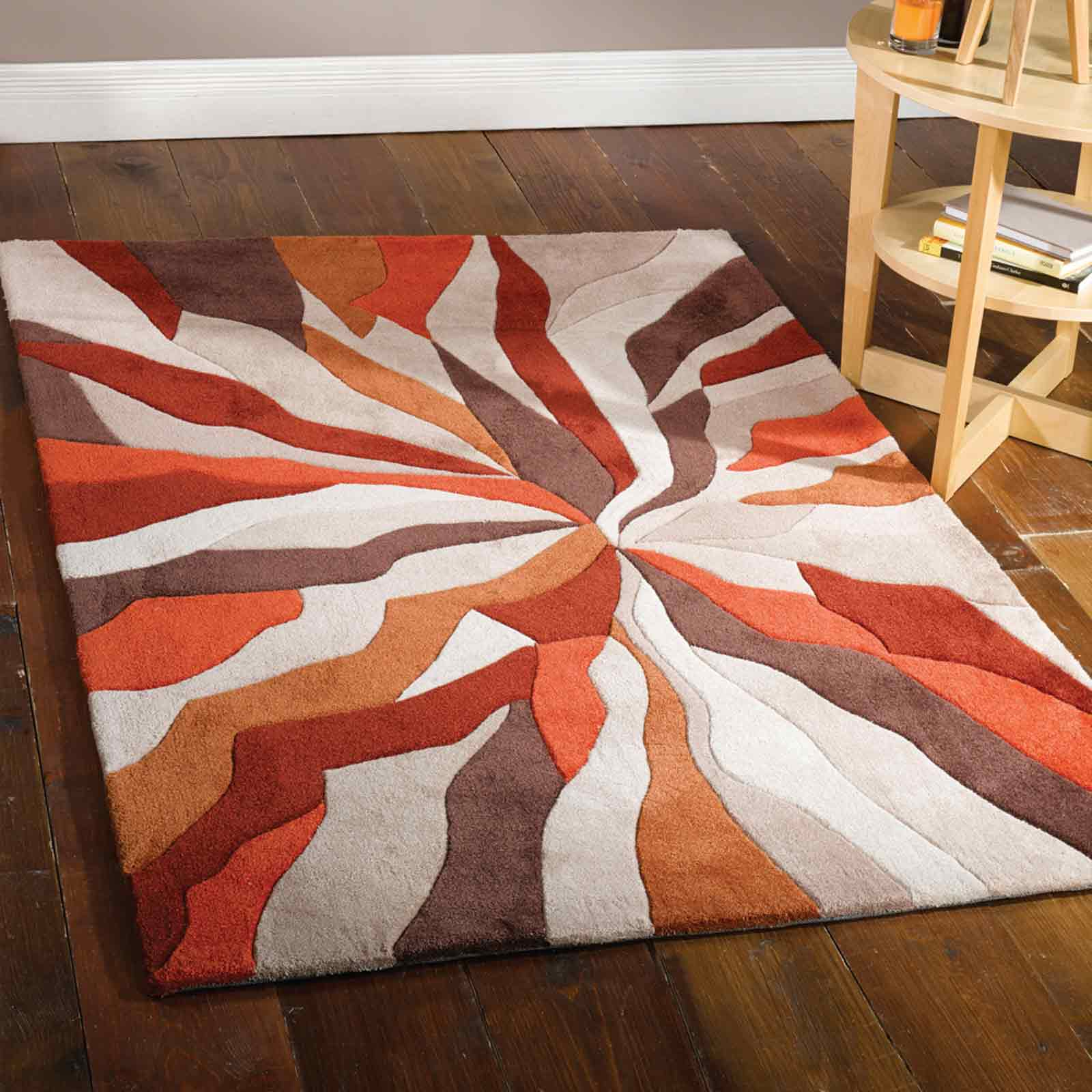 Infinite Splinter Rugs in Orange