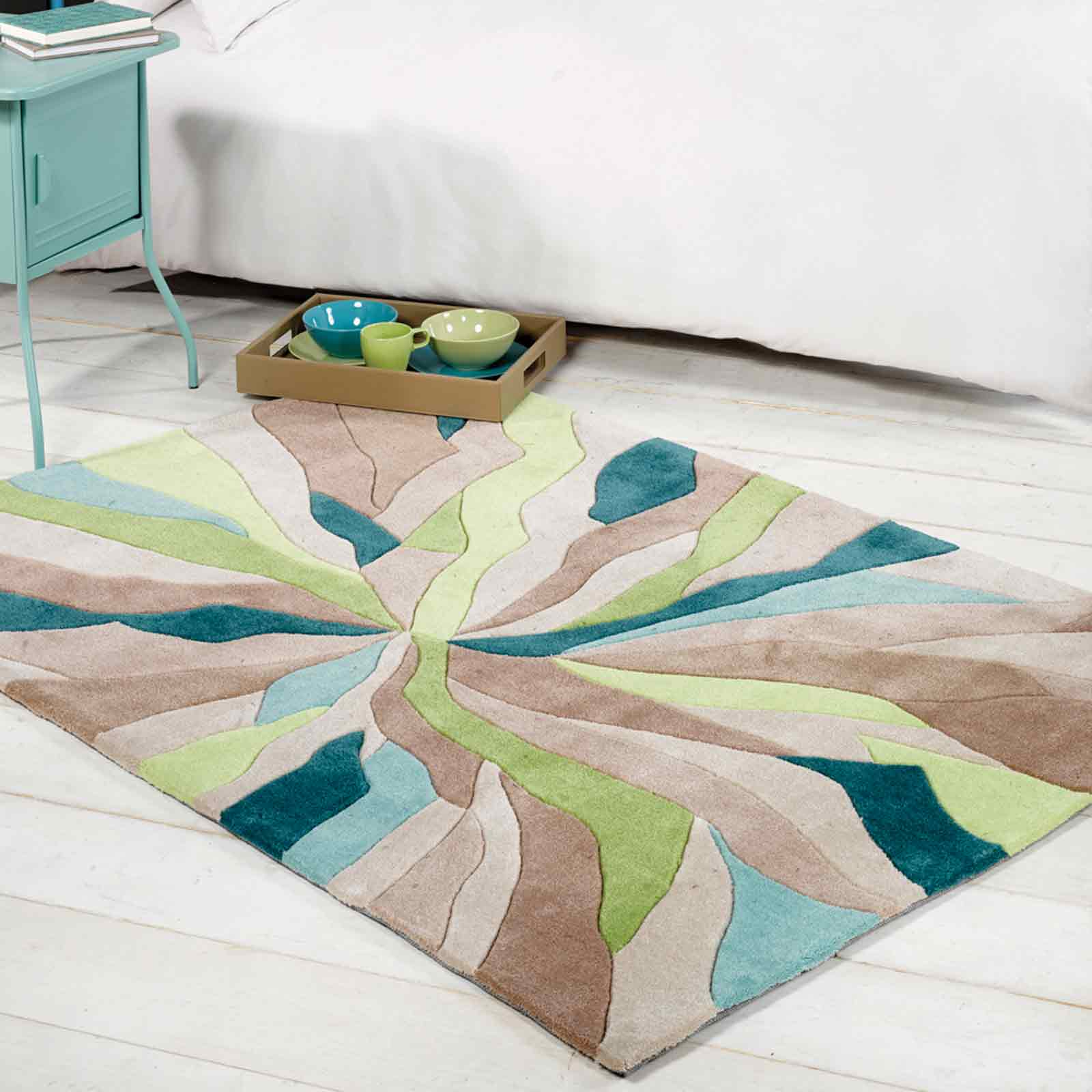 Infinite Splinter Rugs in Teal Green