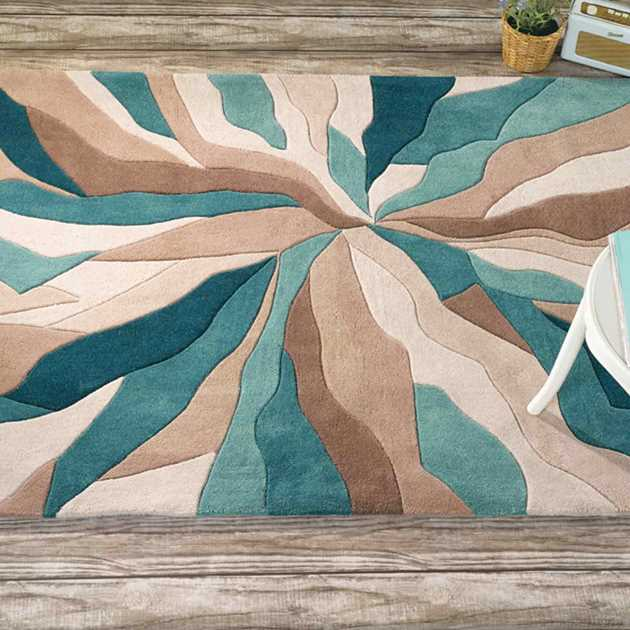 Infinite Splinter Rugs in Teal