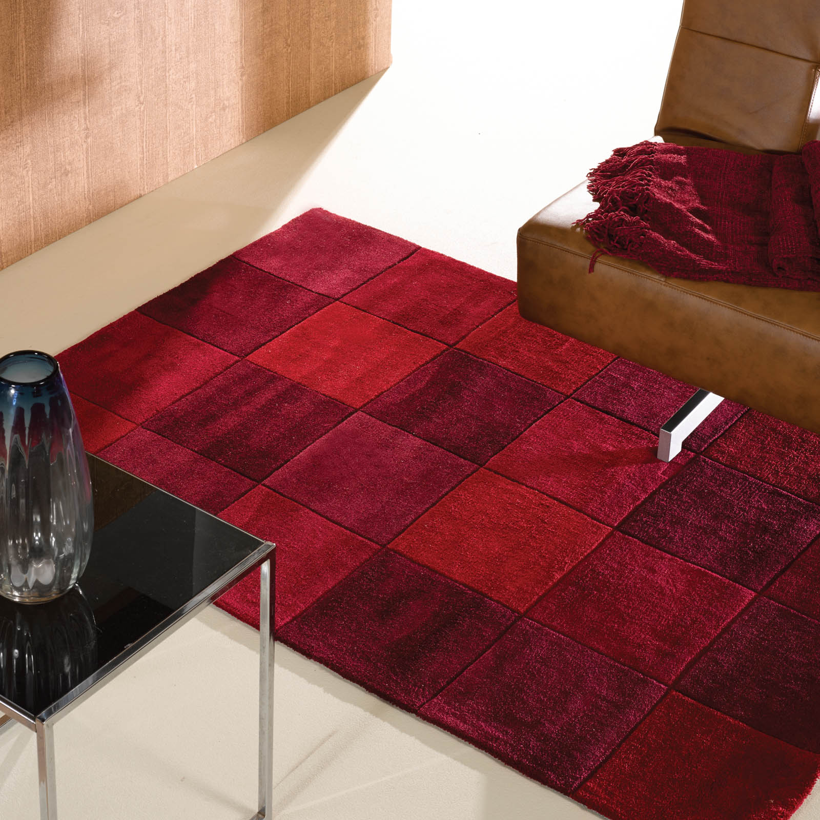 Inspire Squared rugs in Red