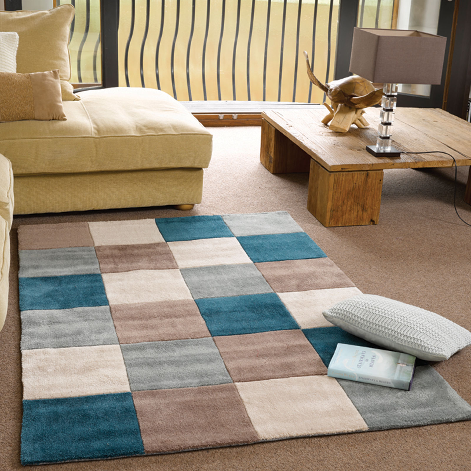 Inspire Squared Rugs In Teal Duck Egg Free Uk Delivery