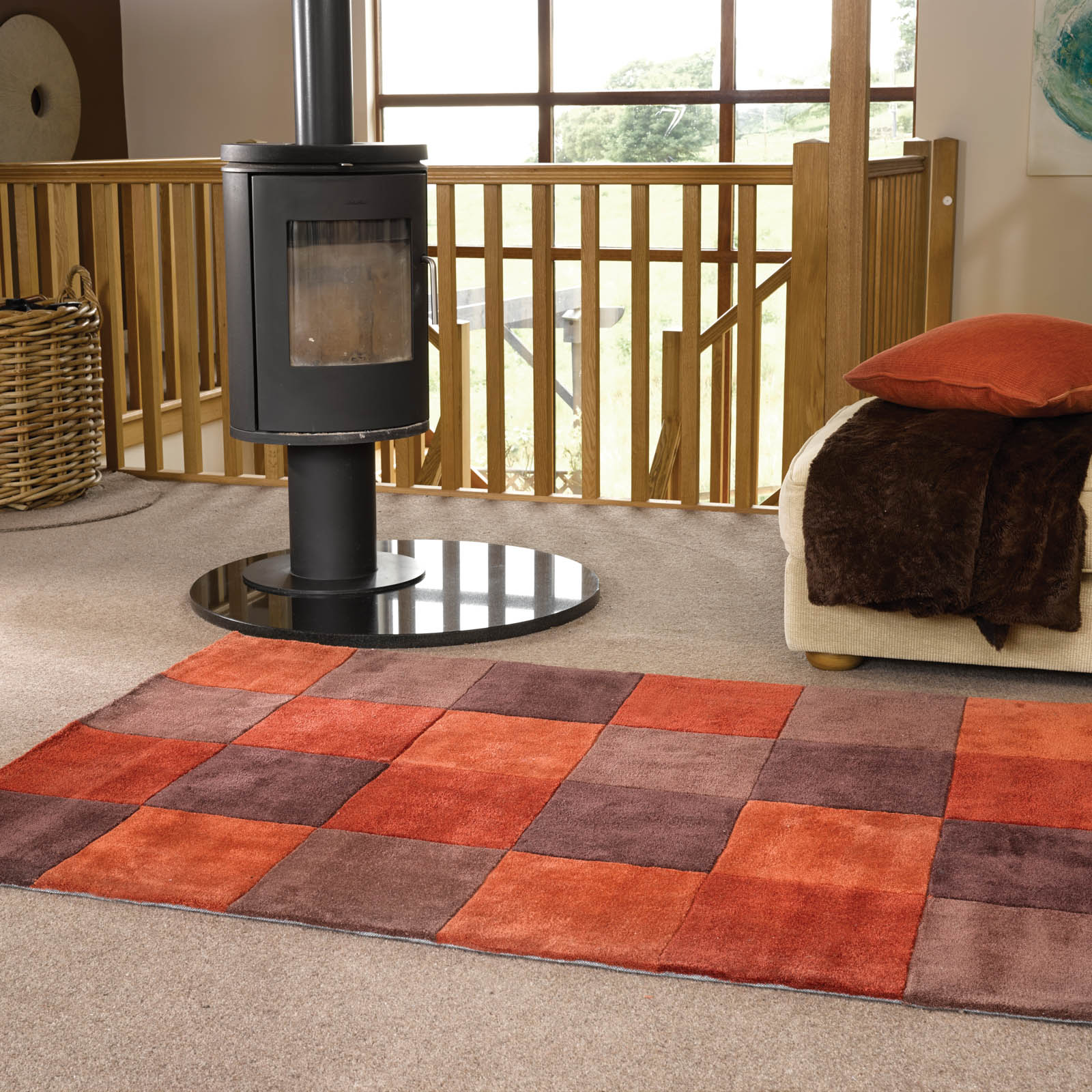 Inspire Squared rugs in Terracotta