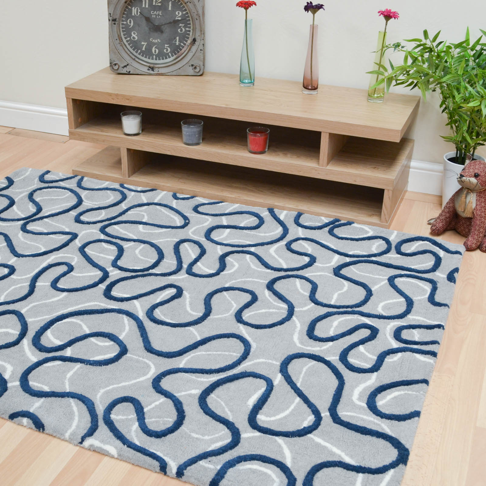 Squiggle Rugs in Blue