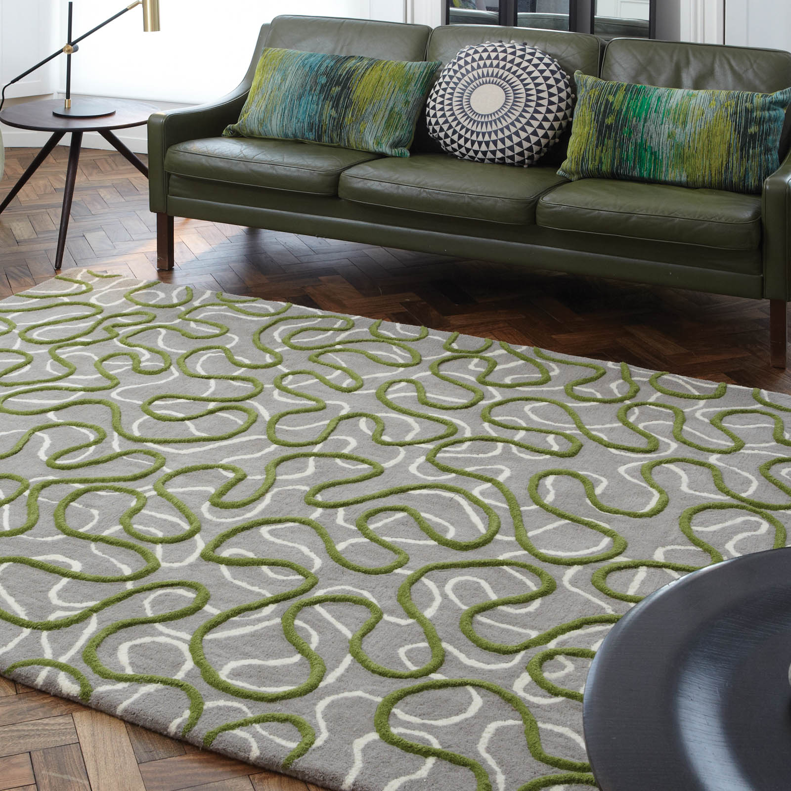 Squiggle Rugs in Green