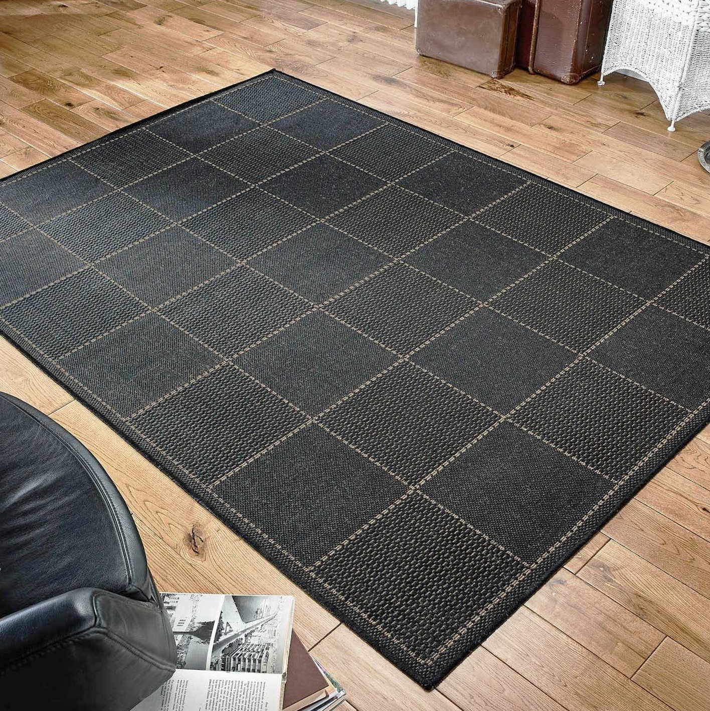 Super Sisalo Anti Slip Kitchen Rugs In Black