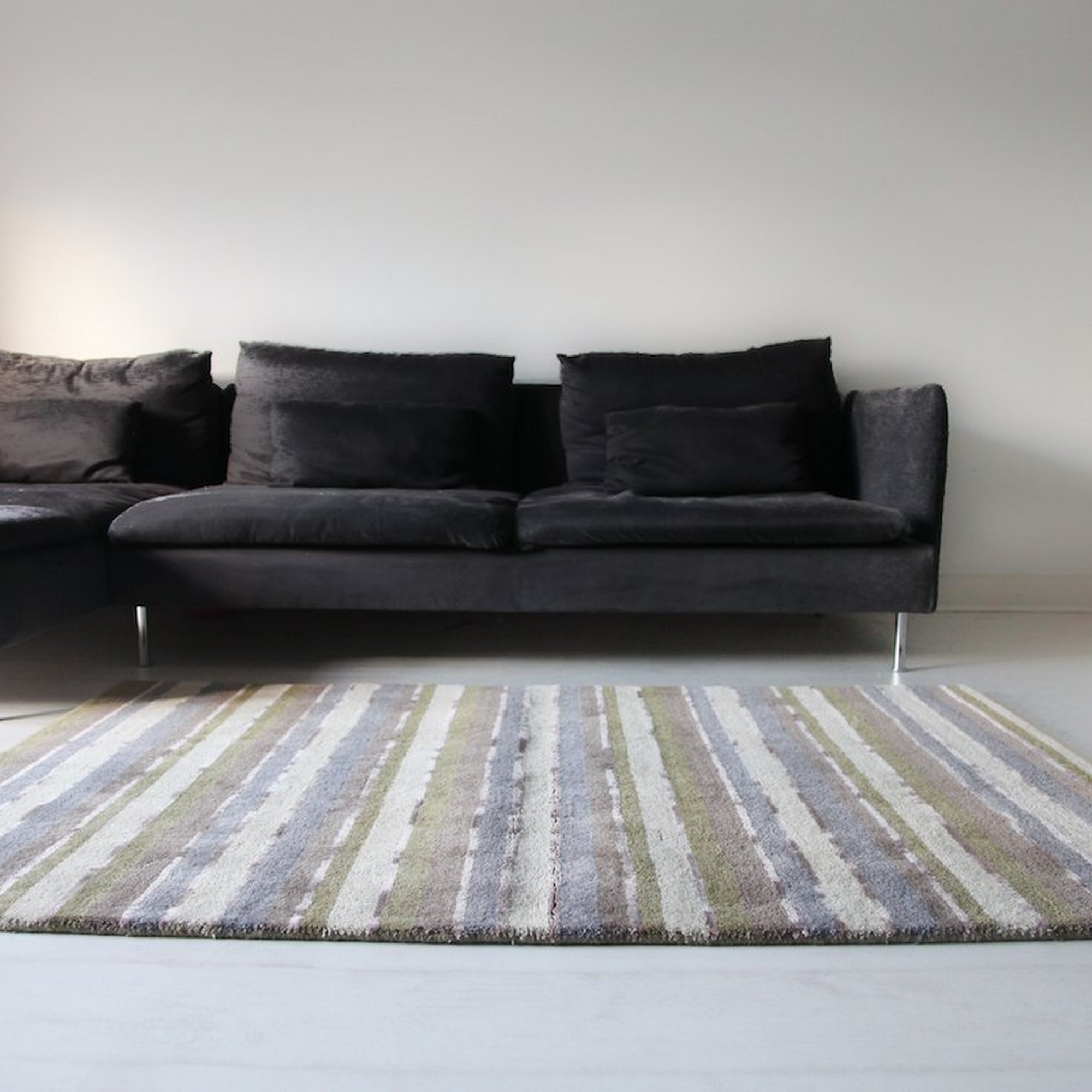 Supreme Handloom Multistripe Rugs in Sage