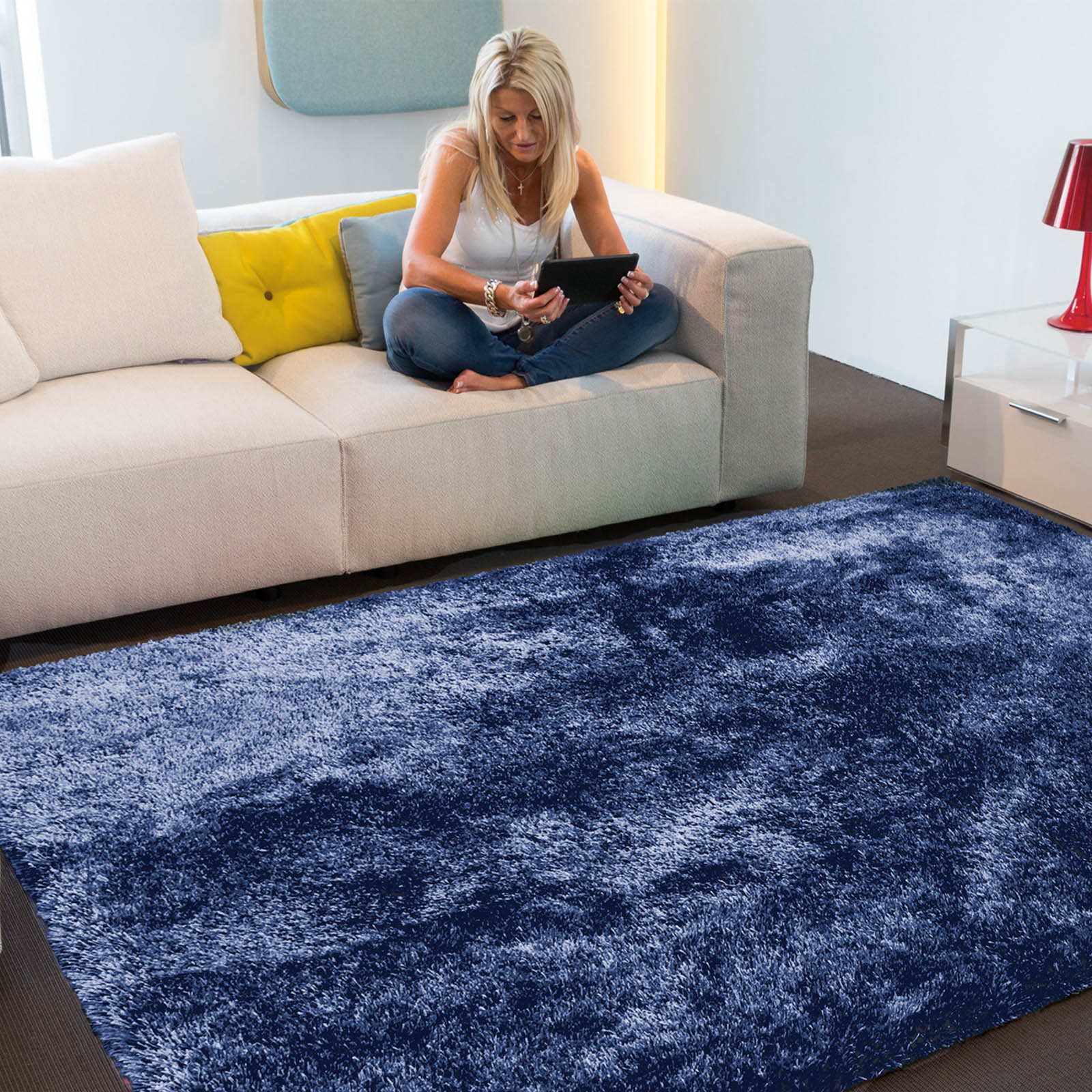 Swing Shaggy Rugs 54 in Midnight Blue