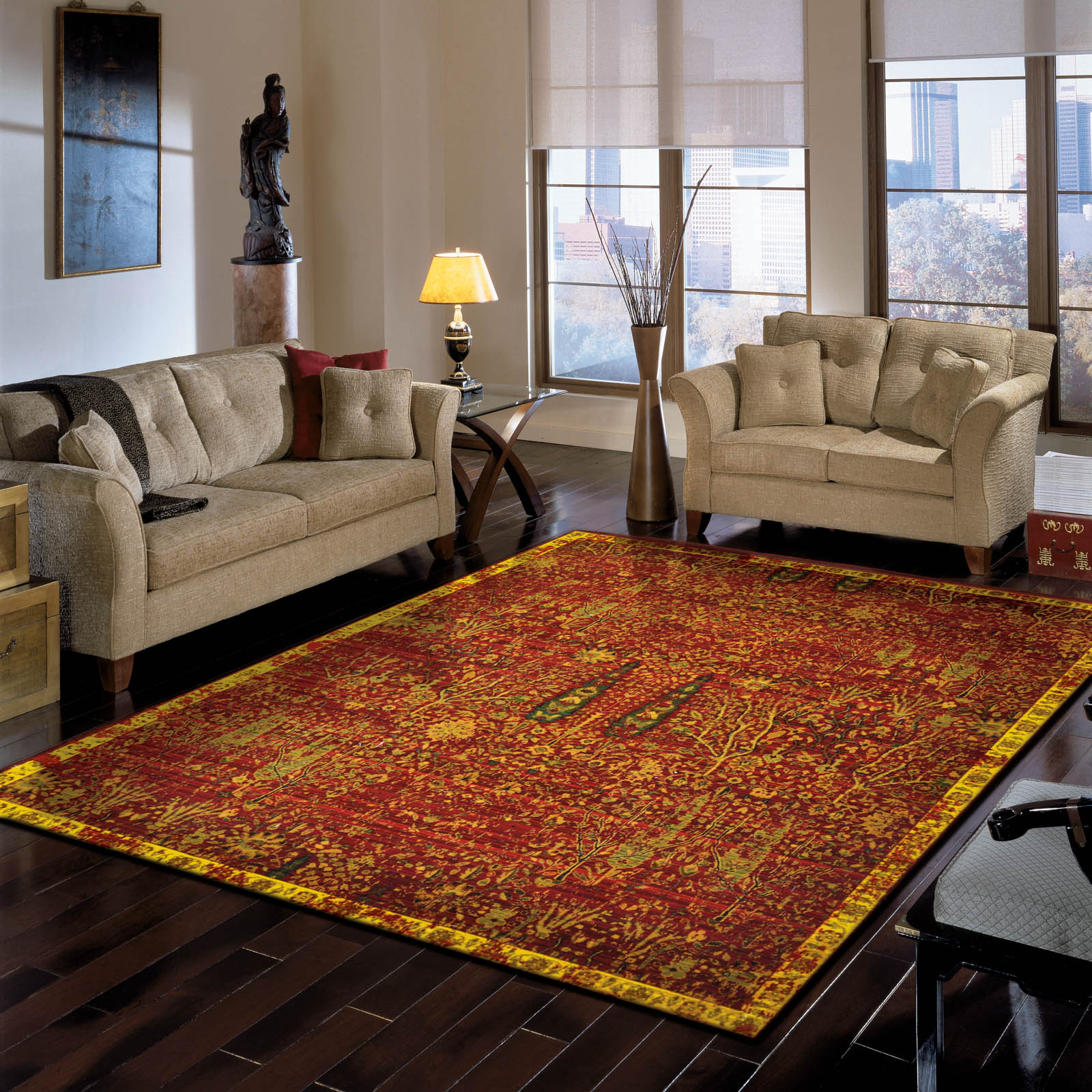Nourison Timeless Rugs TML04 Tree of Life in Scarlet Red