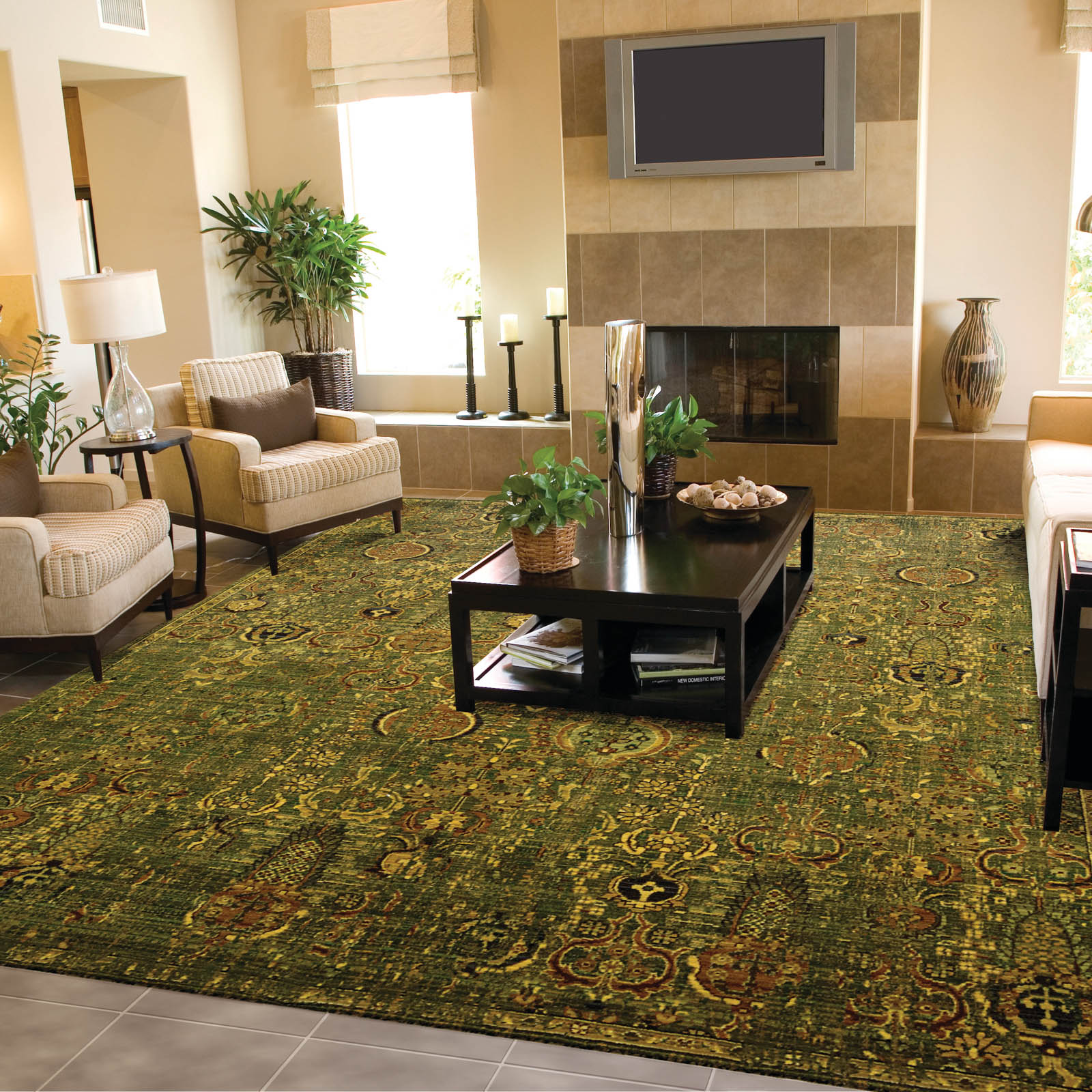 Timeless Rugs TML11 Green and Gold by Nourison