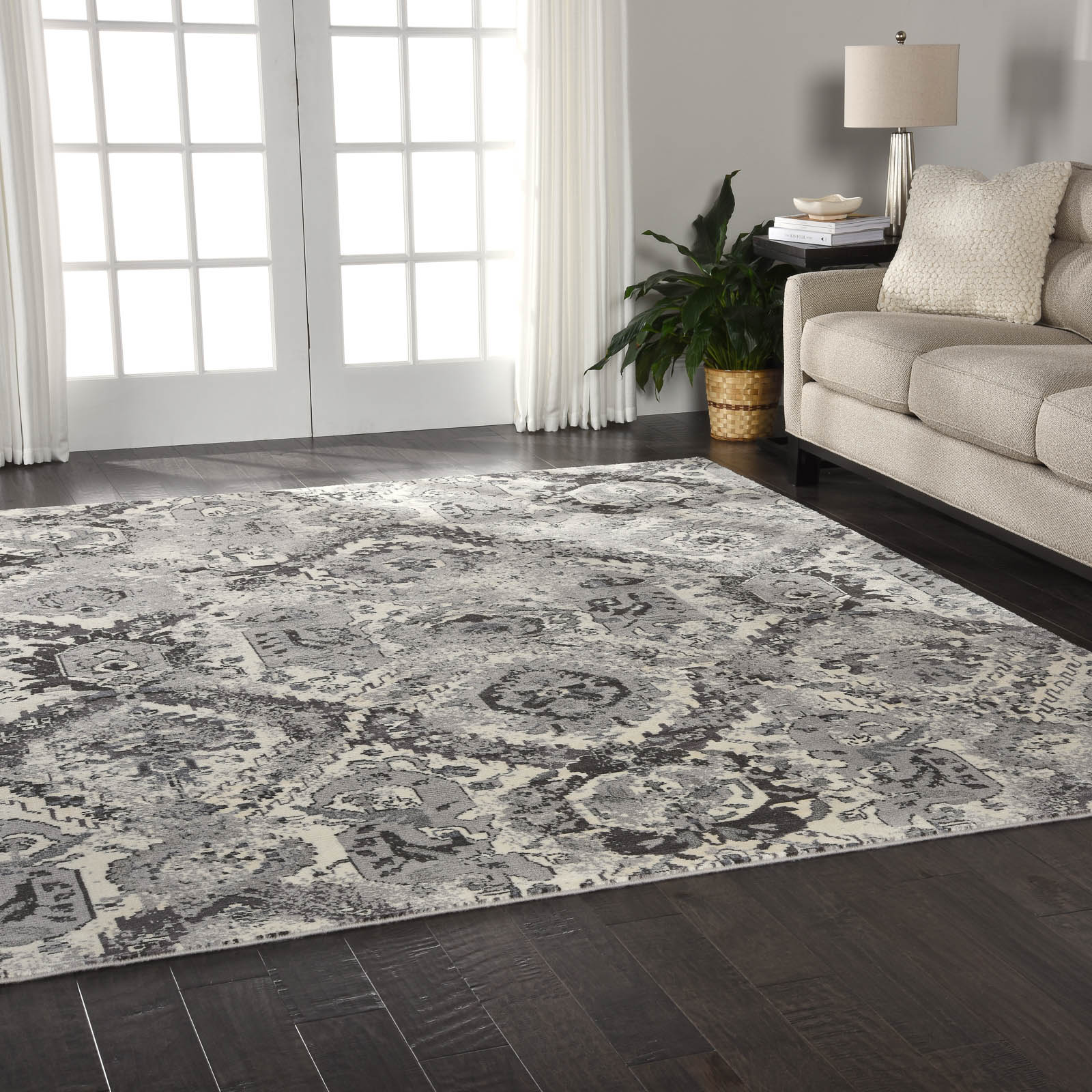 Nourison Twilight Rugs TWI03 in Ivory and Grey