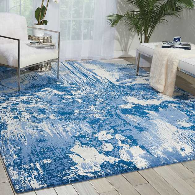 Nourison Twilight Rugs TWI24 by Nourison in Blue and Ivory