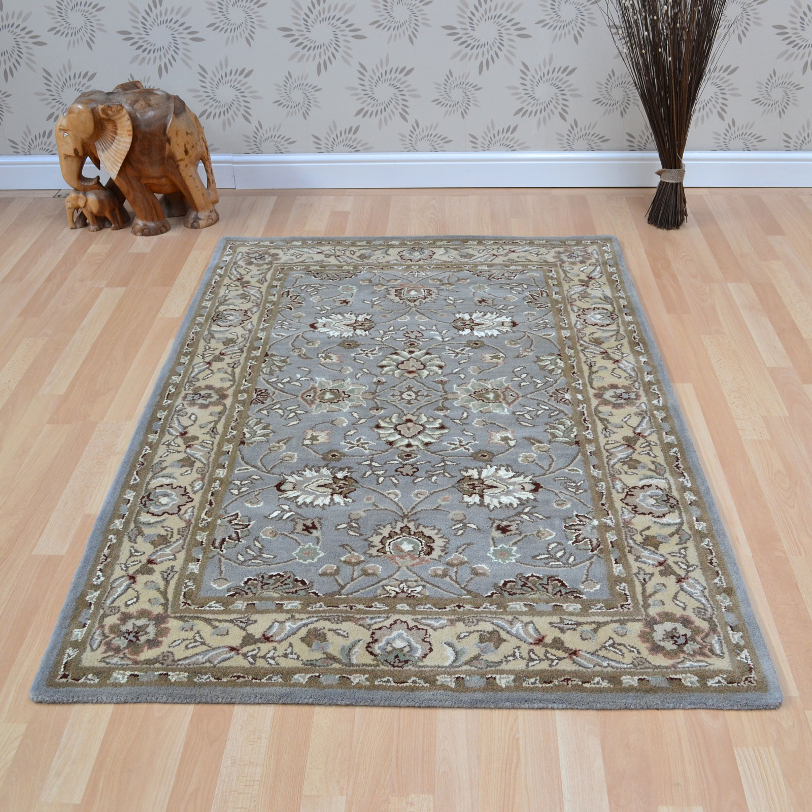 Tabriz Wool Rugs in Blue Beige