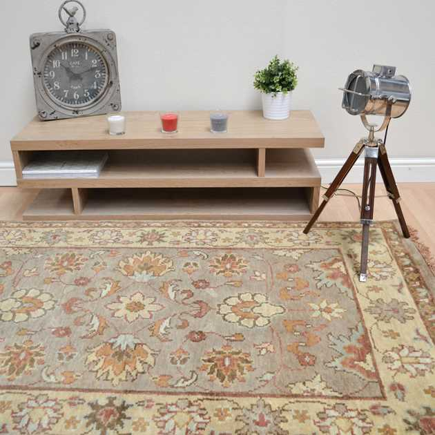 Taj Indian Agra Rugs - Hand Knotted Pure Wool in Beige Camel