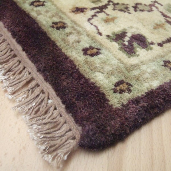 Hand Knotted Pure Wool In Plum