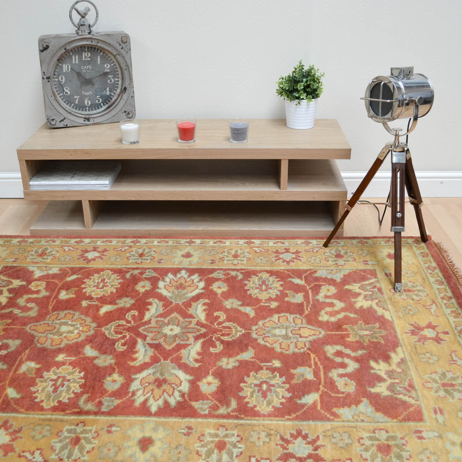 Taj Indian Agra Rugs - Hand Knotted Pure Wool in Rust Gold