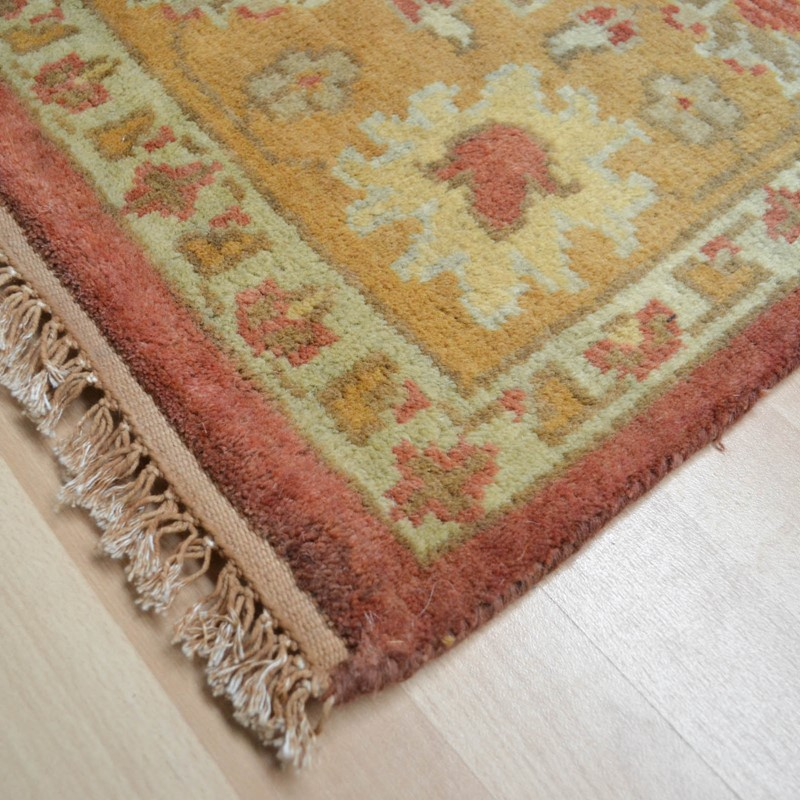 Hand Knotted Pure Wool In Rust Gold
