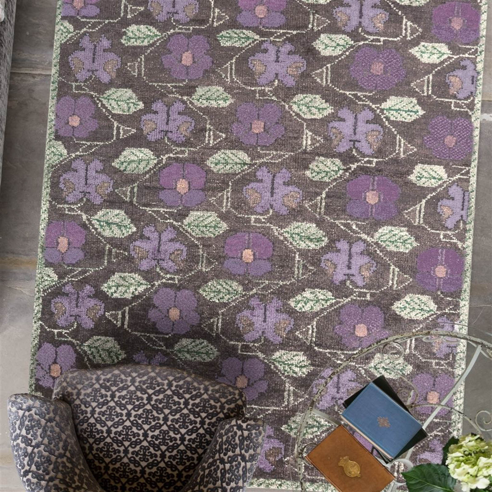 Tapestry Flower Amethyst Rugs by The Royal Collection