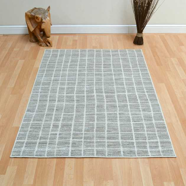 Tibet Grid Rugs in Taupe