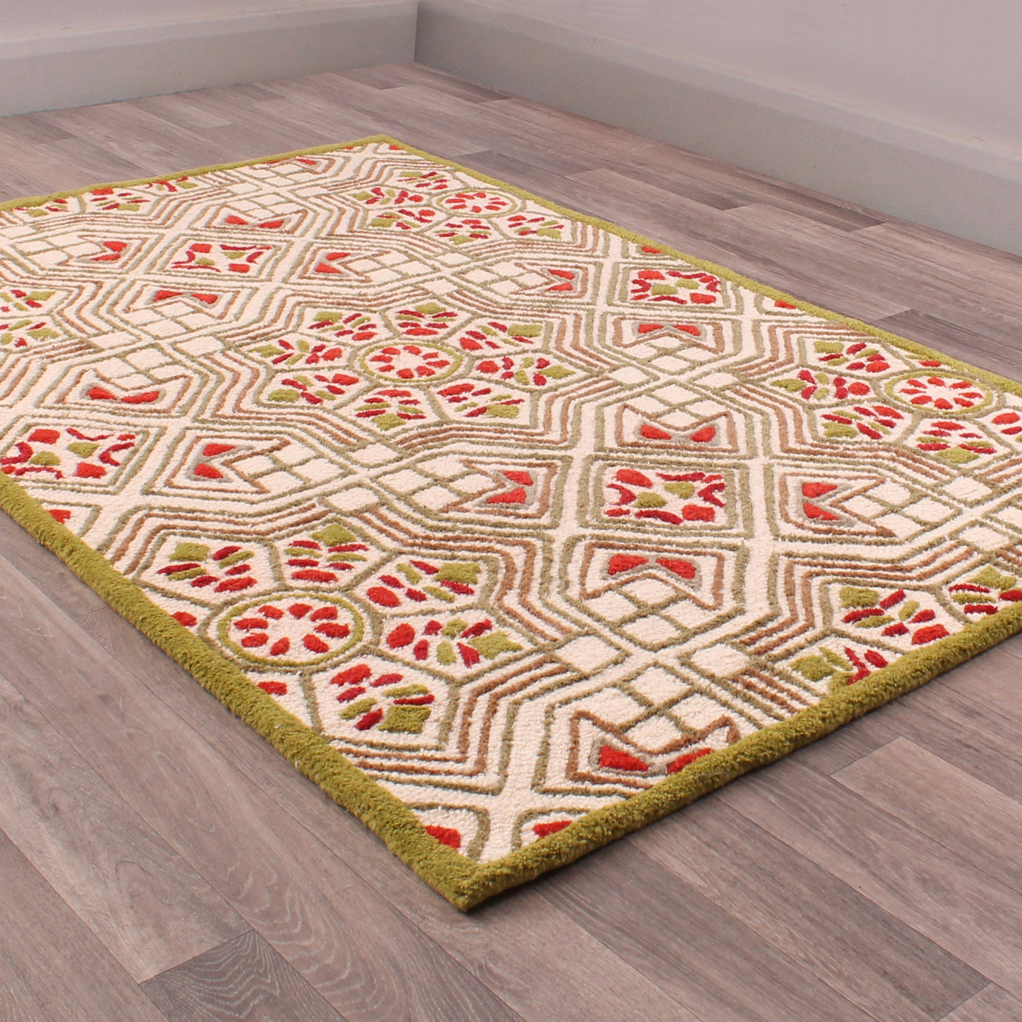 Fusion Timor Rugs in Green and Red