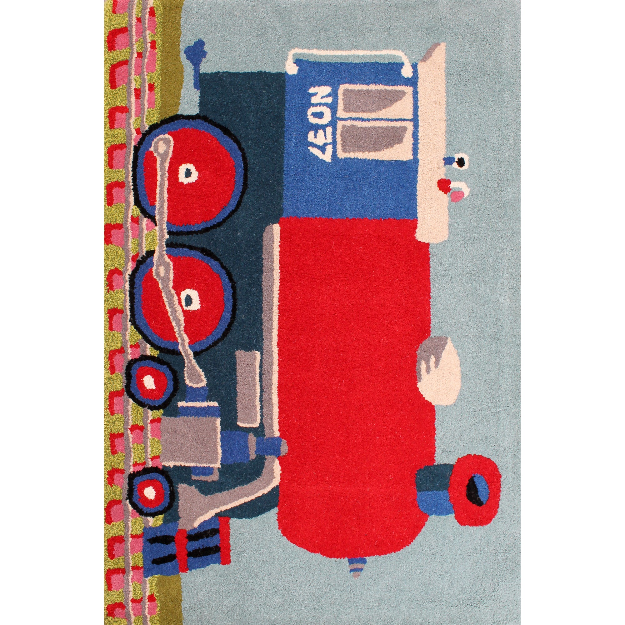Kids Train Rugs in Blue