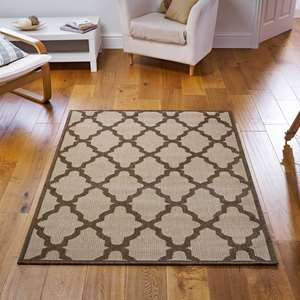 Greek Key Flatweave Anti Slip Rugs In Brown Buy Online