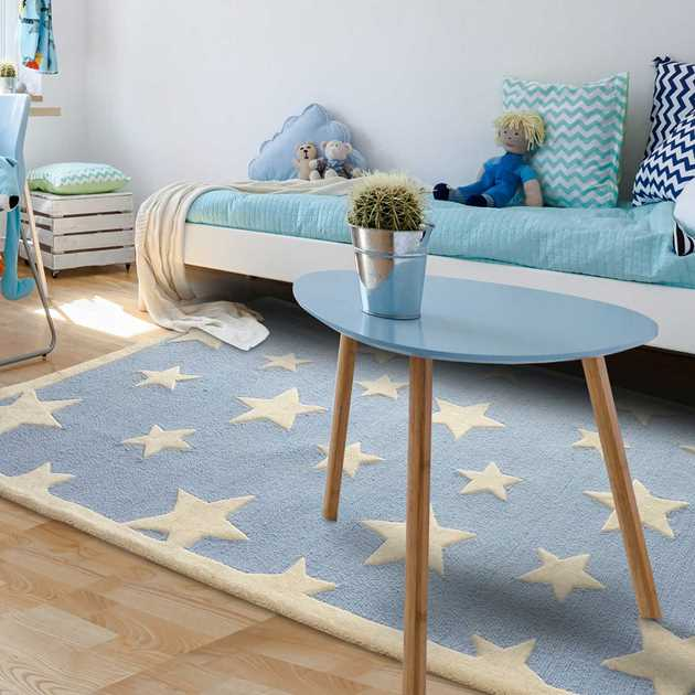 Twinkling Stars Rugs by Ana & Noush in Blue and White