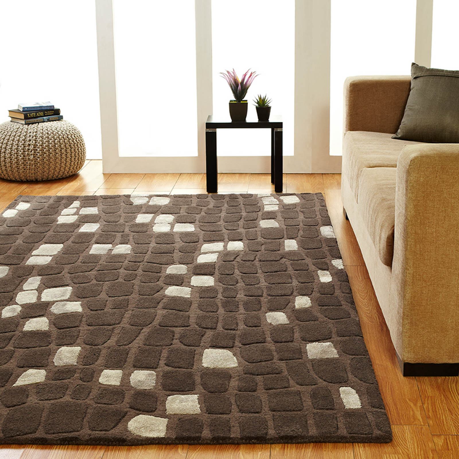 Unique Matrix rugs in Brown Beige