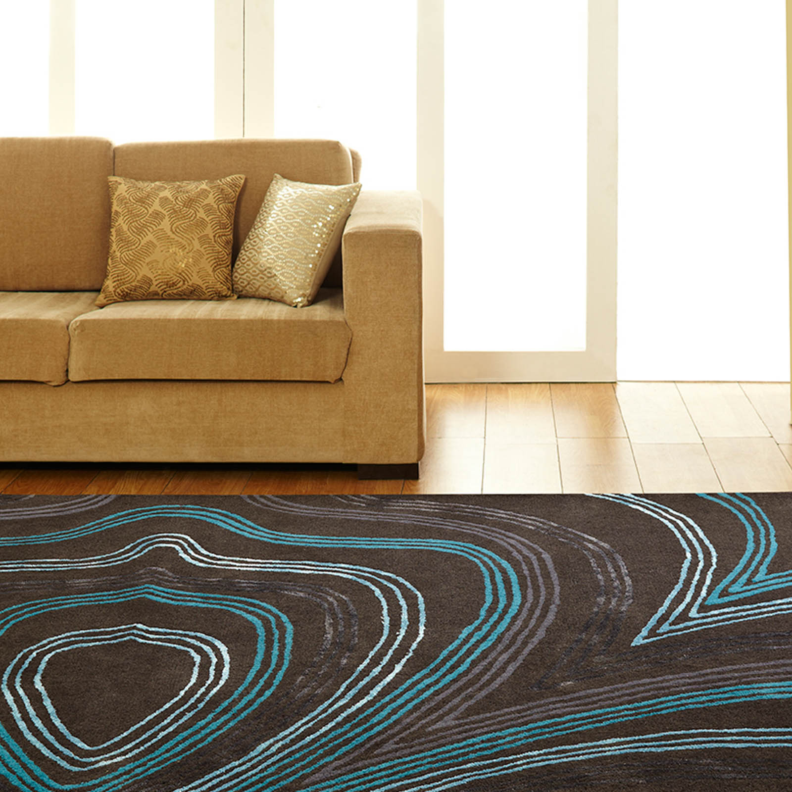 Unique Retro Rugs in Charcoal Blue
