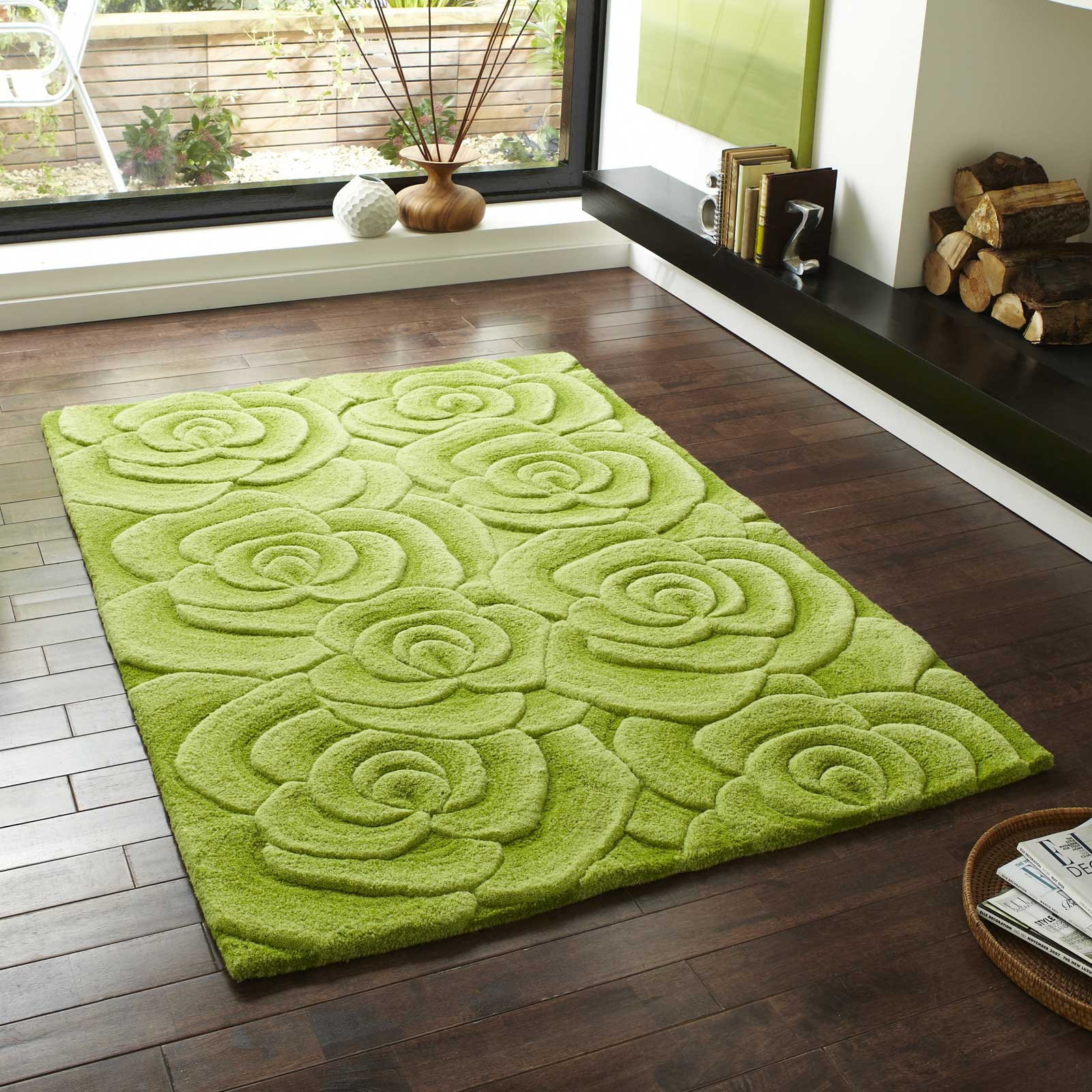 Valentine Rugs VL10 Hand Made Indian Wool in Green