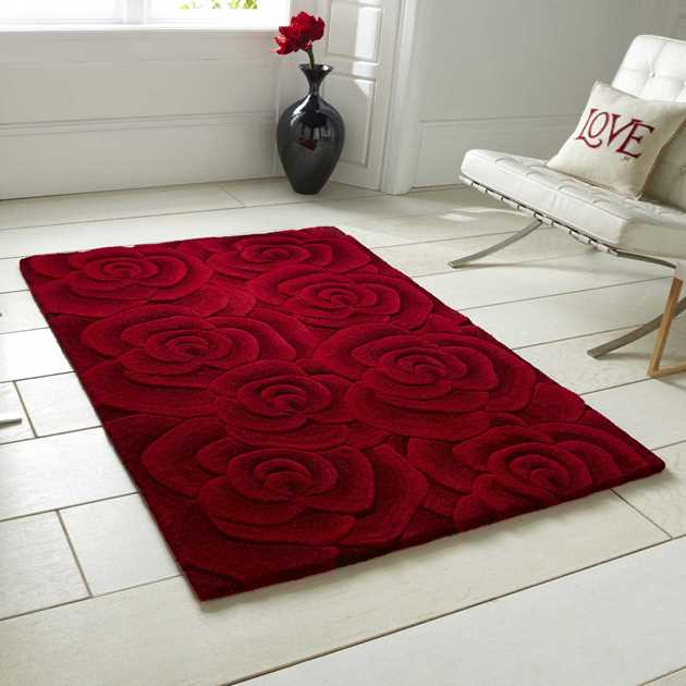 Valentine Rugs VL10 Hand Made Indian Wool in Red