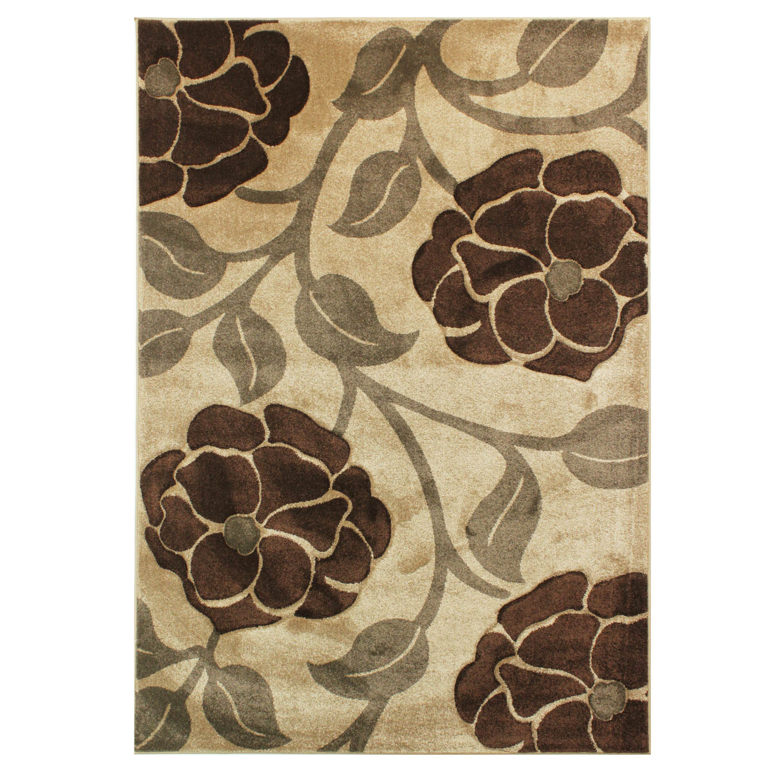 Hand Carved Vine Rugs in Beige and Brown