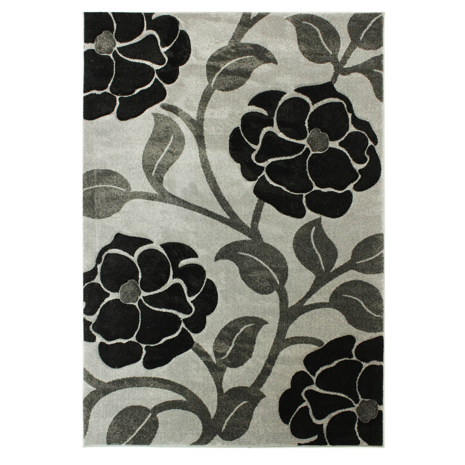 Hand Carved Vine Rugs in Grey and Black