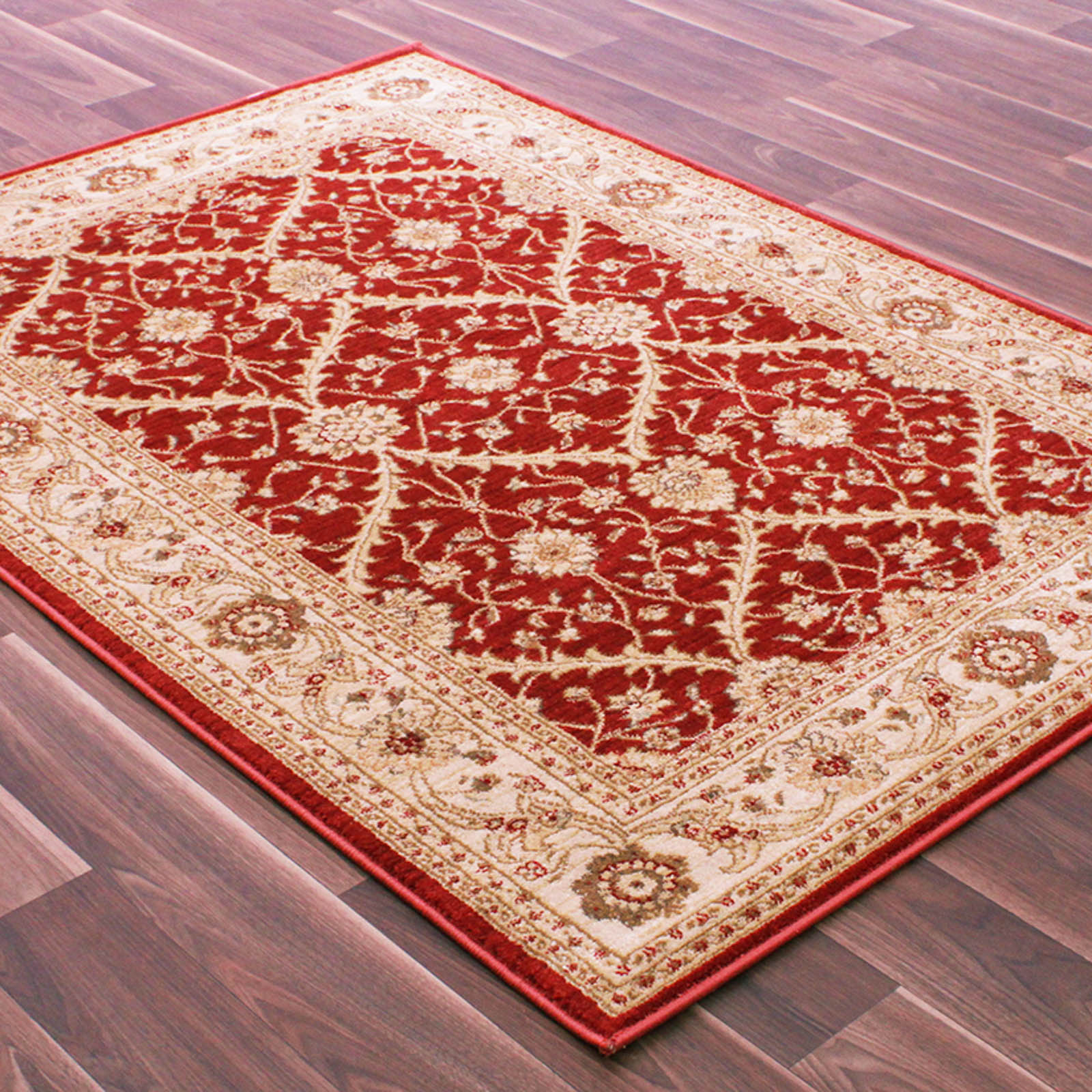 Vintage Traditional Rugs 7707 in Red and Ivory