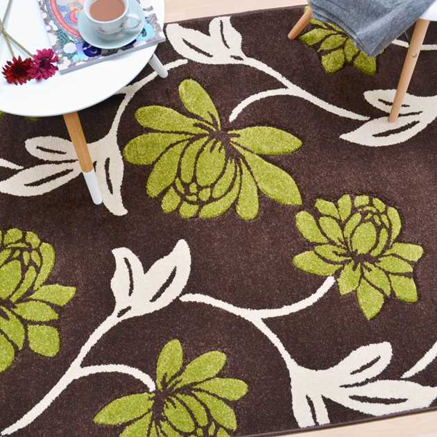 Vogue Floral Rugs VG11 in Brown and Green