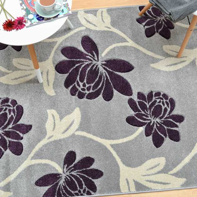 Vogue Floral Rugs VG12 in Grey and Purple