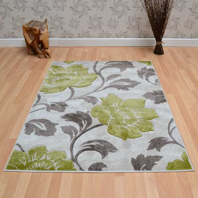 Vogue Floral Rugs VG30 in Beige and Green