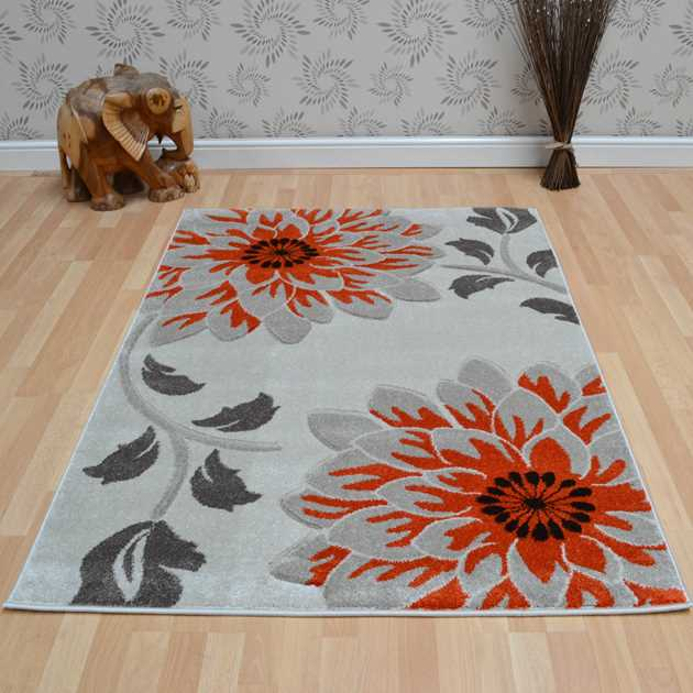 Vogue Floral Rugs VG33 in Beige and Orange