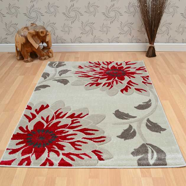 Vogue Floral Rugs VG34 in Beige and Red