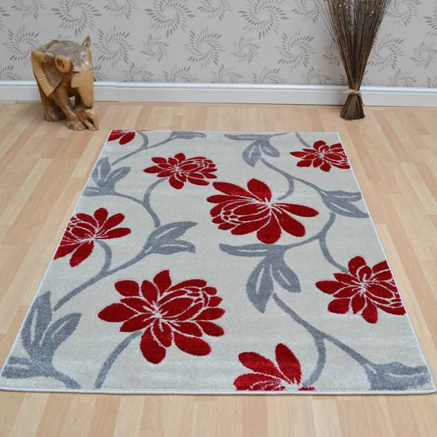 Vogue Floral Rugs VG41 in Beige and Red