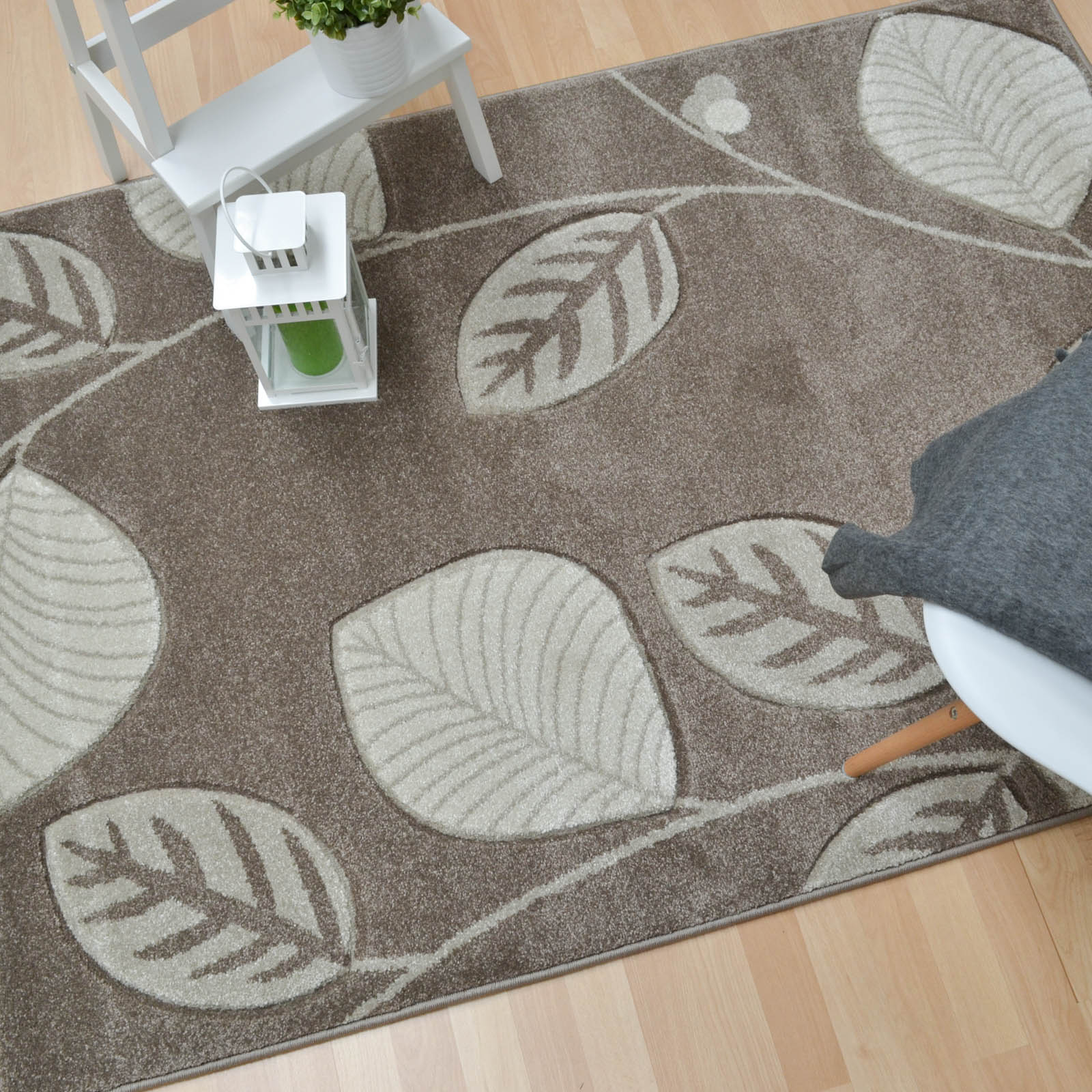Vogue Leaf Rugs VG07 in Stone Beige