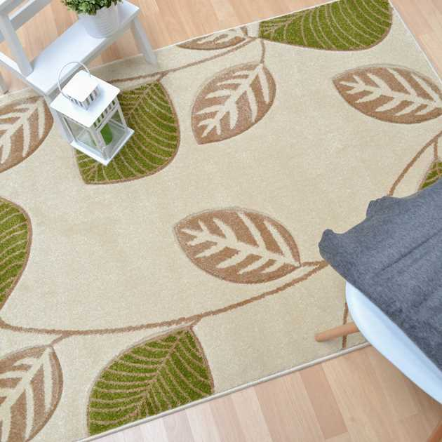 Vogue Leaf Rugs VG08 in Green and Cream
