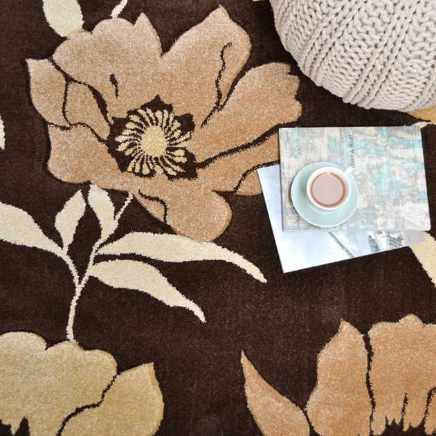 Vogue Poppies Rugs VG03 in Brown and Beige