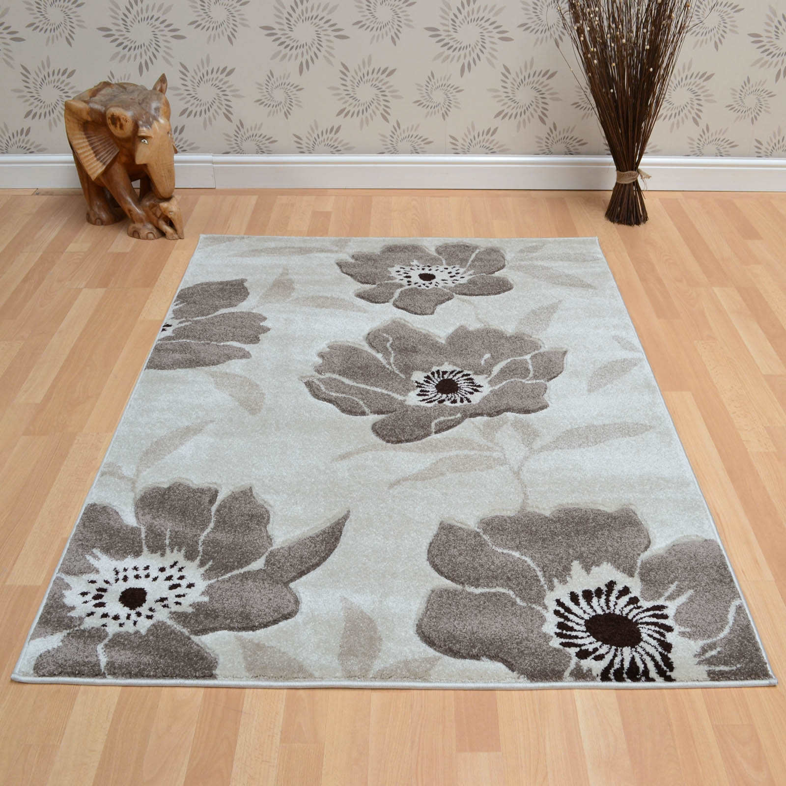 Vogue Poppies Rugs VG39 in Grey