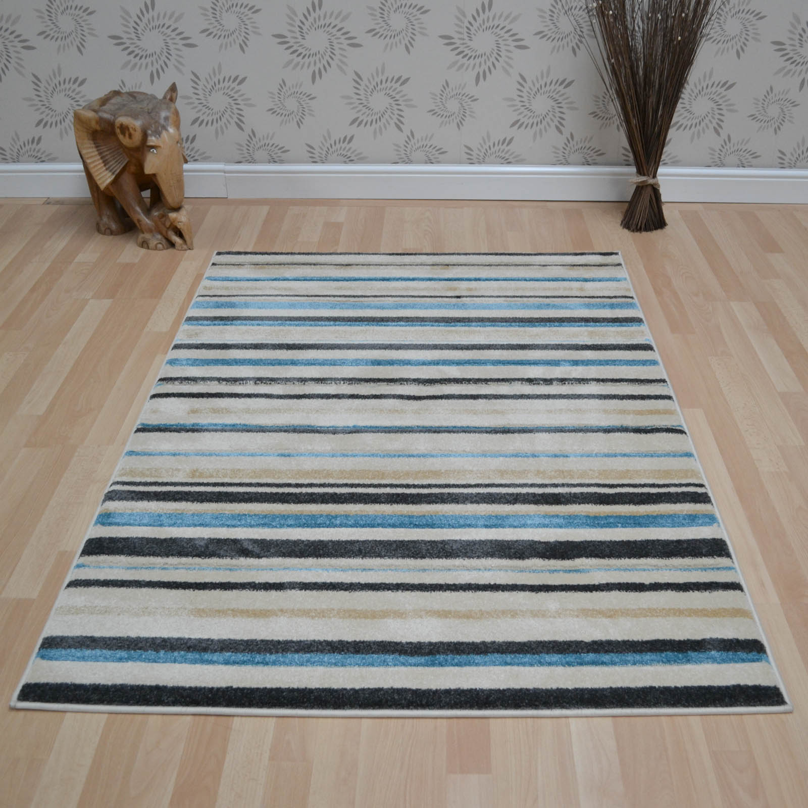 Vogue Stripes Rugs VG22 in Beige and Blue