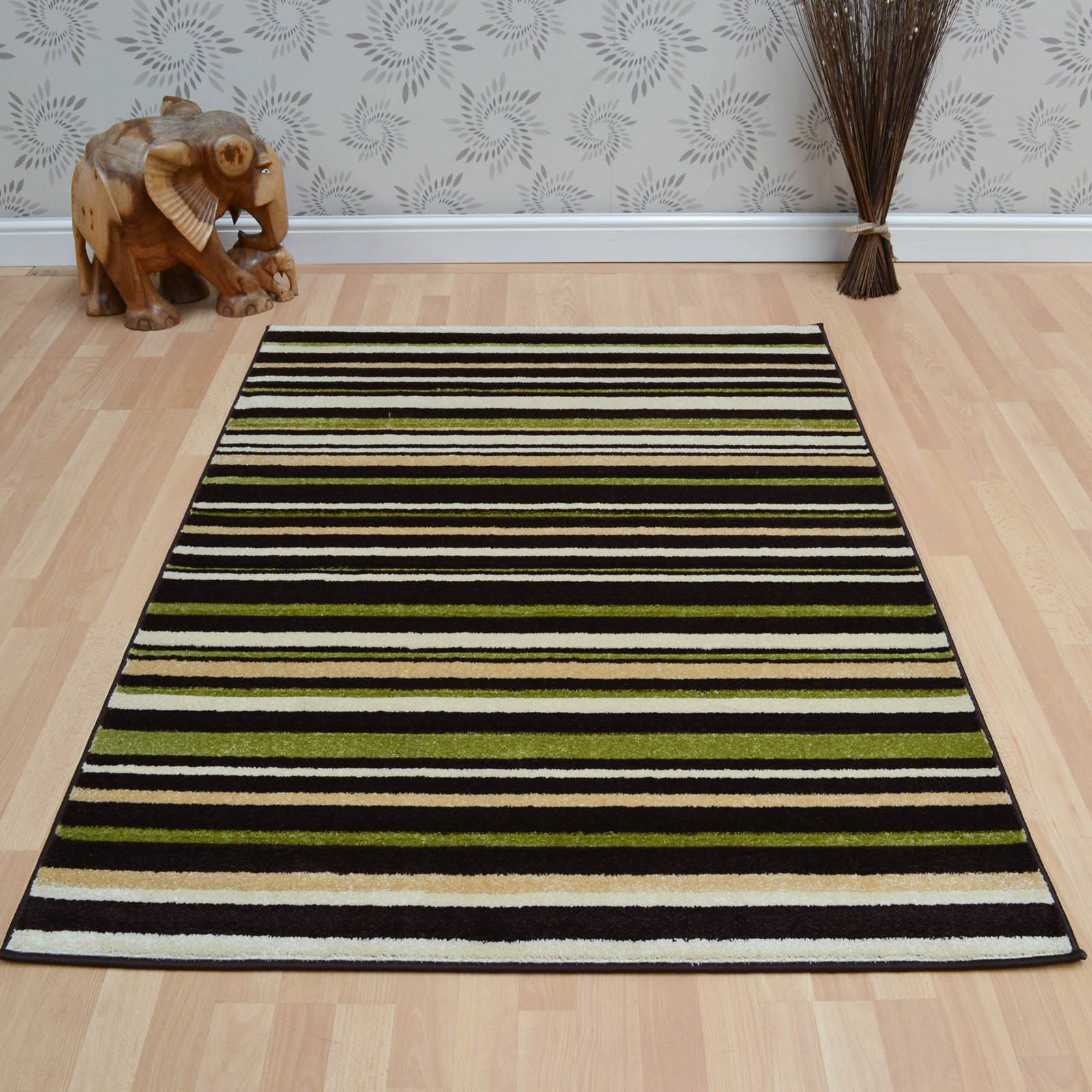 Vogue Stripes Rugs VG24 in Brown and Green